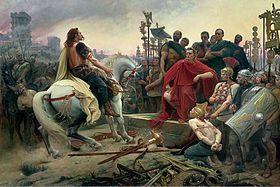 Vercingétorix jette ses armes aux pieds de César (tableau de Lionel Royer, 1899)