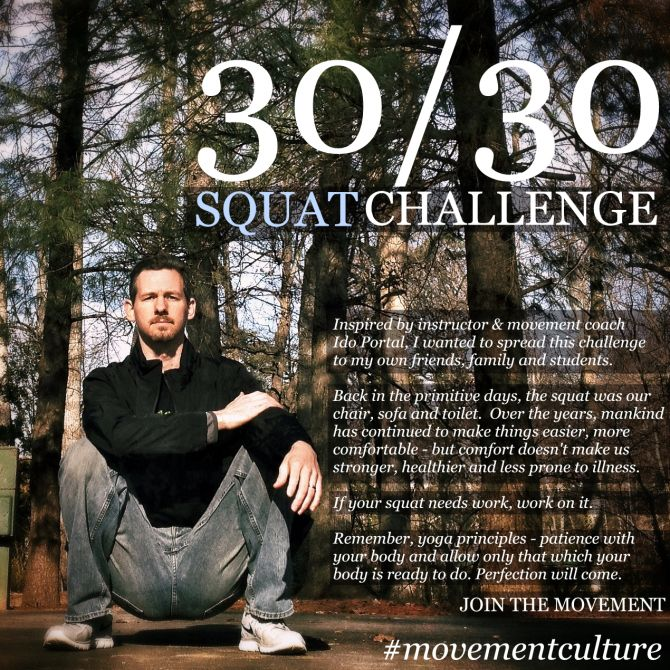 The only way to improve one's squat technique is to actually squat. Hope to achieve a truly perfect squat like Michael Joyce has done in this image by taking up Ido Portal's 30/30 squat challenge whereby you squat for 30 minutes every day for 30 days.