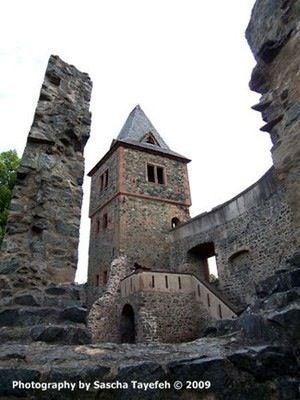 The ruins of Frankenstein Castle are located just outside of Darmstadt, Germany not far from Frankfurt.