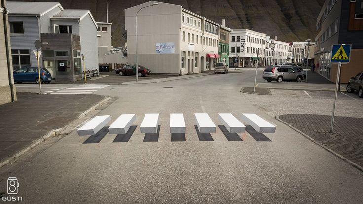 A 3D Zebra Stripe Crosswalk Appears in Iceland