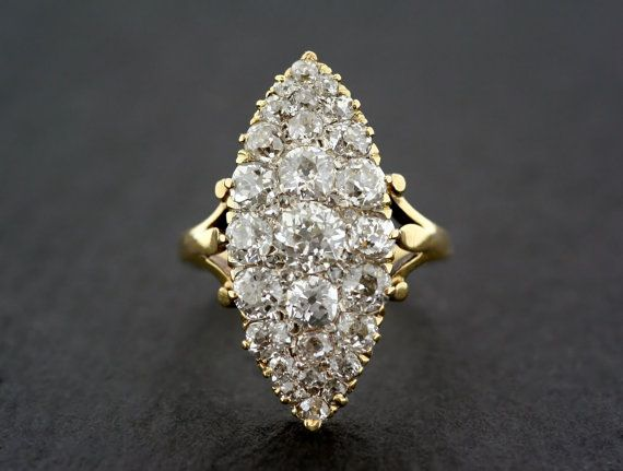 Antieke verlovingsring - antiek Victoriaanse Navette diamantring - antieke diamantring