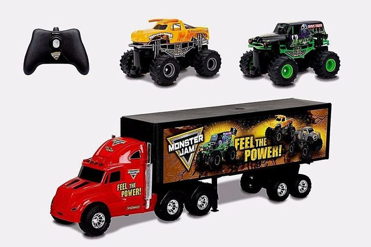 "Truck Hauler Set Car Carrier Two Mini Monster Jam Trucks 22"" Red/Black New  #NotApplicable"