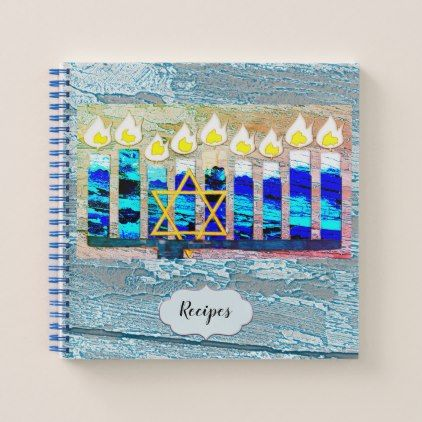 Hanukkah Candles with Gold Star of David Notebook - black gifts unique cool diy customize personalize