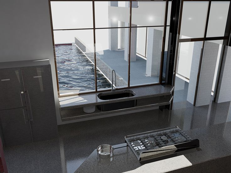 a Kitchen proposal on the pool, designed in 2013.