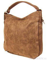 Šmrncovní kabelka na rameno z broušené kůže TH2011 hnědá