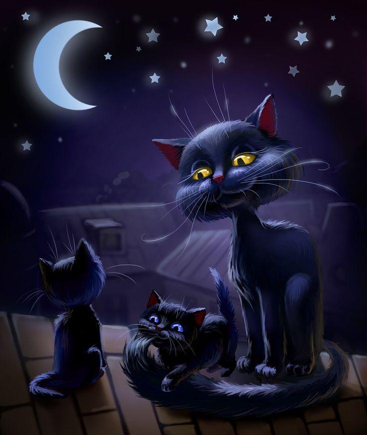 Открытки черные коты, разные добрым днем