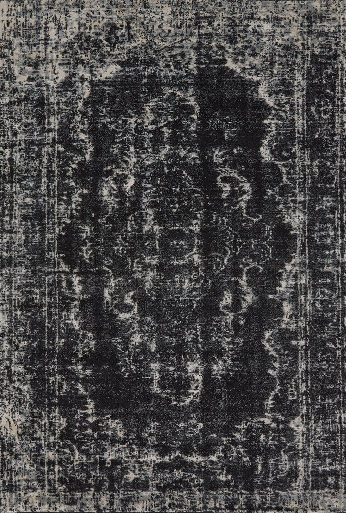 Ironwork Collection Power Loomed Wool & Art Silk Area Rug in Black & Ecru design by BD Fine