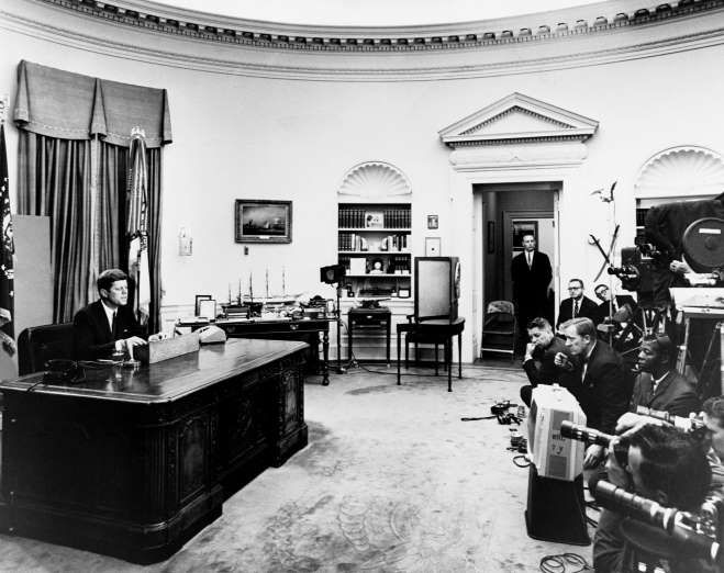 """With more to come, new JFK documents offer fresh leads 54 years later - December 28, 2017. On June 11, 1963, Kennedy delivered the Civil Rights Address from the Oval Office on radio and TV, proposing the Civil Rights Act. Commenting on racial discrimination, he said, """"We have a right to expect that the Negro community will be responsible, will uphold the law, but they have a right to expect that the law will be fair, that the Constitution will be color blind..."""
