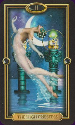 The High Priestess from the Gilded Tarot by Circo Marcetti. All images were found on Pinterest, More information about this deck you can find here: http://www.tarotacademy.org/the-gilded-tarot-book-and-tarot-deck-set/