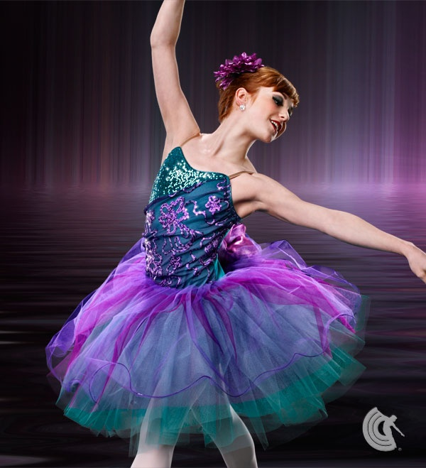 Curtain Call Costumes® - Somewhere My Love  Lined teal sequin poly/spandex and nylon/spandex leotard with purple sequin lace mesh bodice overlay, attached tulle and net skirt, and flower trim on back. INCLUDES: flower barrette.   2013 Curtain Call Dance Costumes Collection. For Australian information www.curtaincallcom.au #dance #costumes #australia