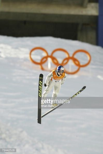 Adam Malysz of Poland competes in the qualifying round of the men's K90 ski jumping event during the Salt Lake City Winter Olympic Games at the Utah...