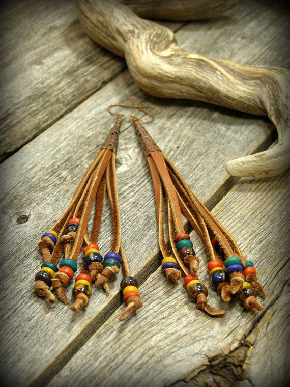 Bohemian Earrings, Leather Beaded Earrings, Tribal Earrings, Leather Fringe,  by StoneWearDesigns