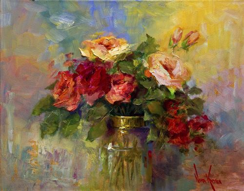 "Oil painting ""Fresh Roses"" 16 x 20 inches by Artist NORA KASTEN"
