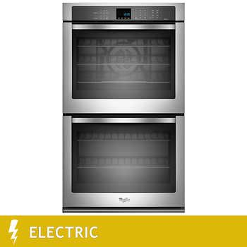 Costco $1,549.99 best option for wall ovens.  Only double-stack in non-black stainless steel.  Whirlpool Gold 10.0CuFt Double Wall Oven with True Convection Cooking in Stainless Steel - WOD93EC0AS