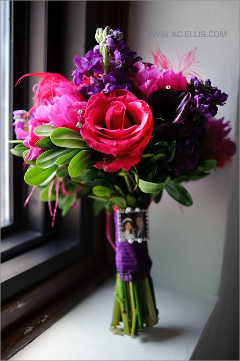 pink and purple wedding bouquet (maybe to incorporate the purple in the men's flowers?)