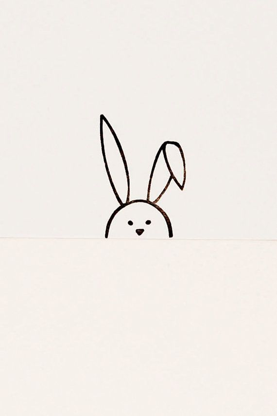 Simple Sweet Flop Eared Bunny stamp kids gift by WoodlandTale