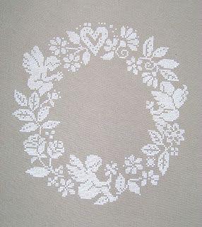 Cross stitched wreath