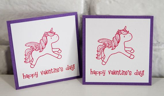 Pink Unicorn Valentine's Day Card Set of by LaurasPaperCreations