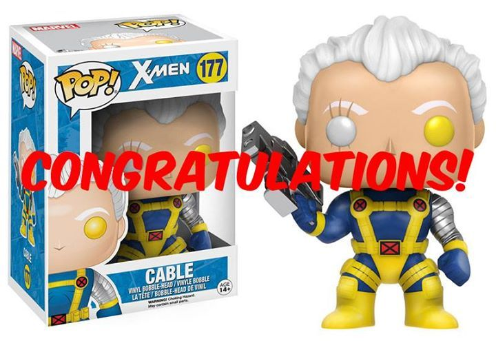 Congratulations to Joshua King for winning our Cable Pop! #Marvel #comics #avengers