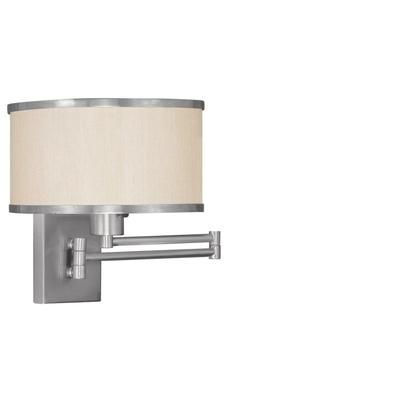 Illumine - Providence 1 Light Brushed Nickel Incandescent Swing Arm Wall Sconce with a Champagne Hardback Shade - CLI-LTG6279-91 - Home Depot Canada