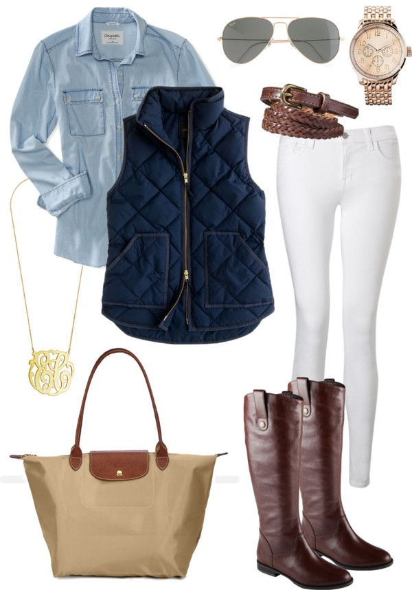 Chambray shirt, Olive vest, white skinny jeans, gold necklace, Riding boots