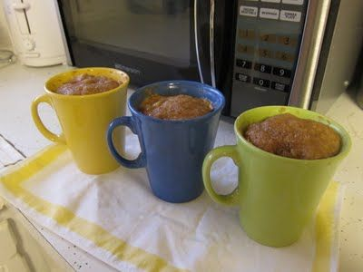 1 minute microwave muffins.  Mix together in mug: 1 egg, 1 tsp baking powder, 2 tbsp Greek yogurt, 2 tbsp ground flax seed (or oatmeal), dash of cinnamon. Microwave 1-2 minutes. Flip the mug over on a dish and eat it like a muffin. Super healthy and filling! Add any ingredients you want (fruit, nuts, dates, chocolate chips..)