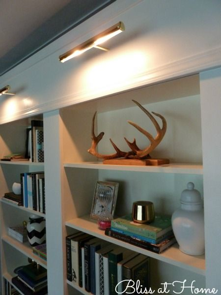 IKEA BILLY Bookcase Library Wall >>> How to install bookcase lights on remote.