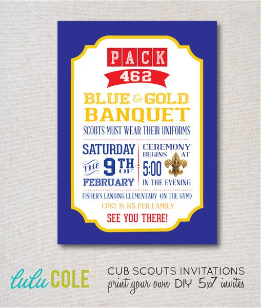 cub scout blue and gold invitation templates party invitations ideas. Black Bedroom Furniture Sets. Home Design Ideas