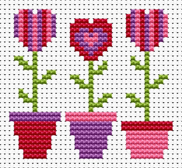 Sew Simple Love Grows cross stitch kit [SS-LG] Finished size approx 8cm x 7.8cm. Kit contains 11ct white aida fabric, stranded embroidery cotton, needle, colour chart and instructions. A brand new kit will be sent directly to you by Fat Cat Cross Stitch - usually within 2-4 working days © Fat Cat Cross Stitch