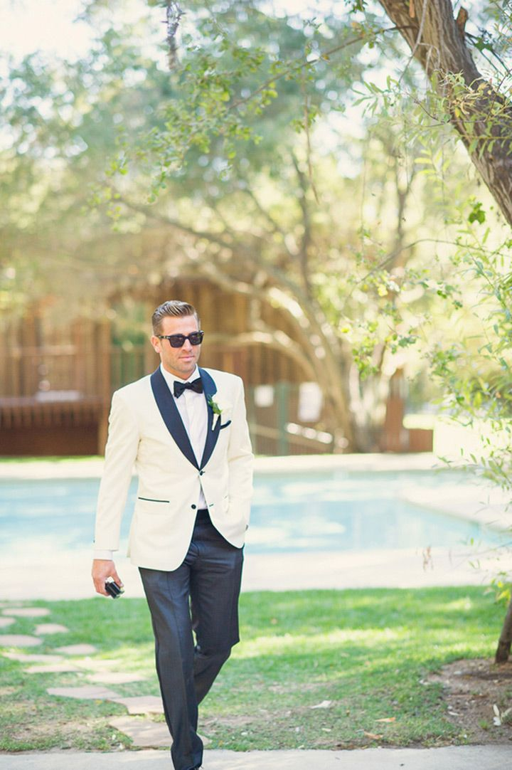 in love with the groom's white tux with dark trim and pants - great look! ~  we ❤ this! moncheribridals.com
