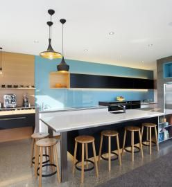 COFFEE NOT CHAOS.  A warm, sunny kitchen that would put some order into the morning chaos. Melanie Craig Design Wanaka