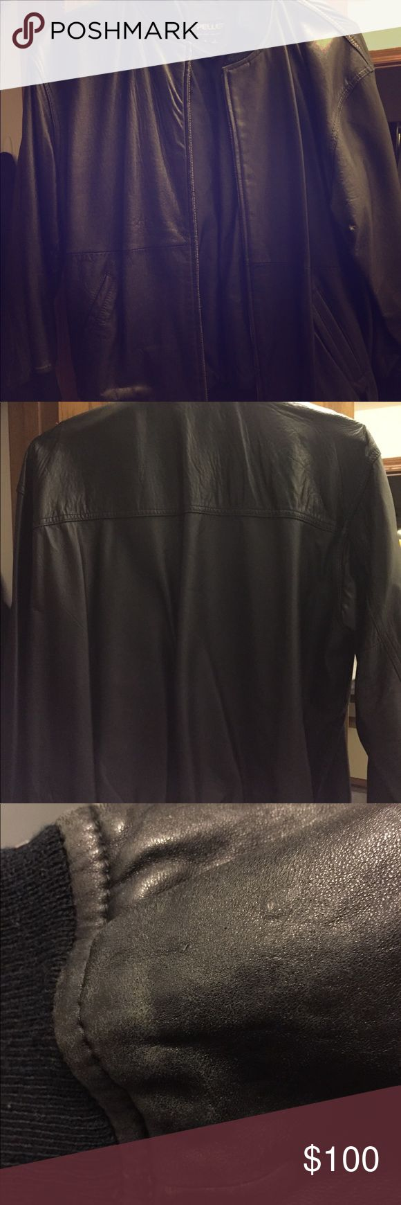 Black leather jacket Ladies black leather jacket. Minimum wear just been sitting in closet. Size L some wear on sleeves see last pic. Pelle Pelle Jackets & Coats