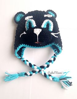 Panther hat pattern, Carolina Panthers, by CraftedVisions