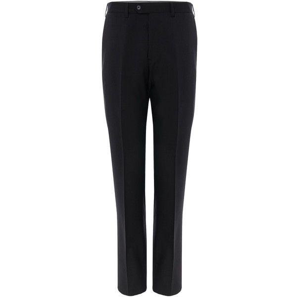 Armani Collezioni Slim-fit Plain Front Trousers (£160) ❤ liked on Polyvore featuring men's fashion, men's clothing, men's pants, men's dress pants, men trousers, mens slim fit pants, mens pants, mens slim fit dress pants, mens slim pants and mens lined pants