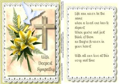 Sympathy Topper and Incert in yellow  on Craftsuprint - Add To Basket!