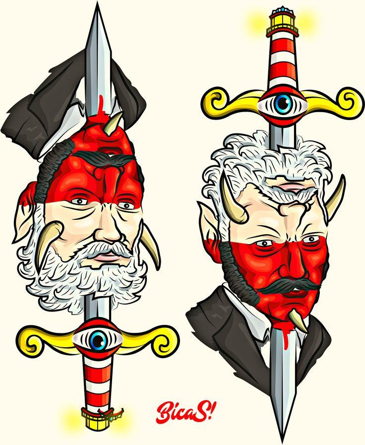 god , debil , diablo , dios , ilustracion , farol traditional