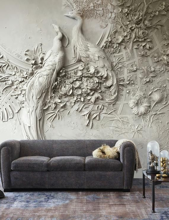Sculpture Wallpaper 3D Embossed Floral Wall Mural Cement Bird Wall Print Classical Home Decor Cafe Design