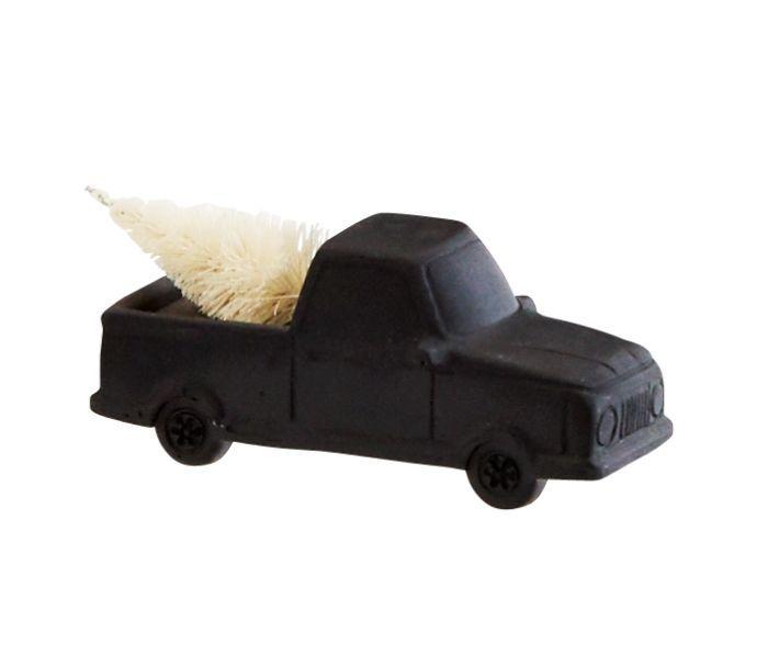 Auto met kerstboom zwart