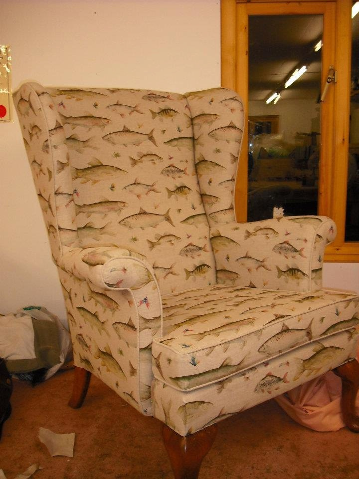 Reupholstered Parker Knoll Wingback Chair In Voyage Fish Fabric. £700.00,  Via Etsy.