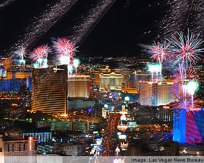 Las Vegas on New Years Eve. Fireworks at midnight off major hotels on the strip.  Always fun!