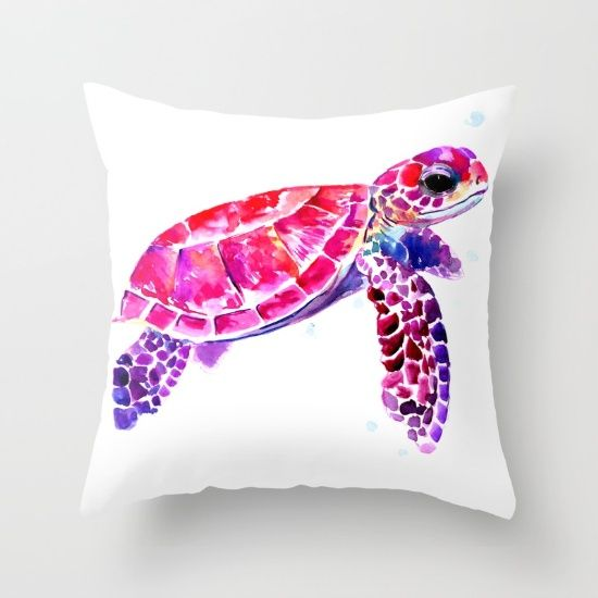 Purple Turtle Bright Pink, purple blue turtle illustration Throw Pillow