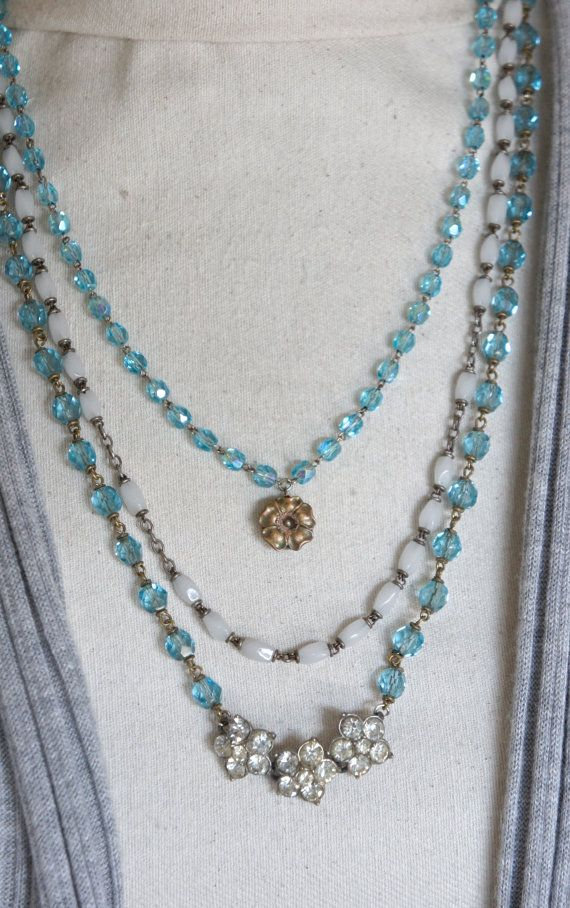 Summer Days-Vintage assemblage necklace by frenchfeatherdesigns