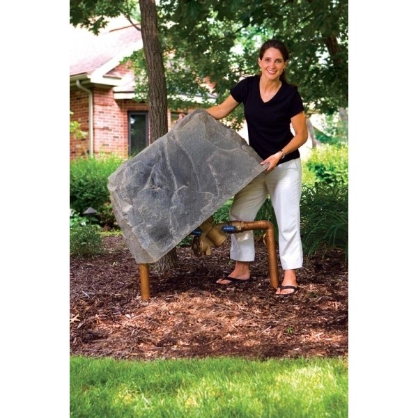 Dekorra Model 110 Fake Rock Cover - this is a perfect size for small to medium size backflow devices and irrigation systems.  You can even get it insulated and or heated to prevent pipes freeze.