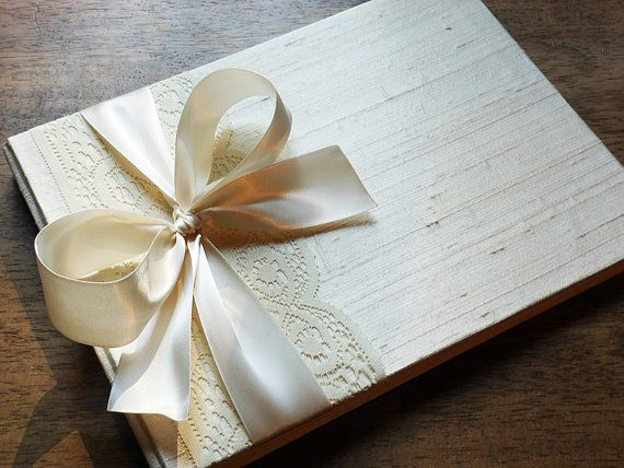 Vintage Themed Ivory Wedding Guest Book You Choose Bow Color And Page Layout Made To Order