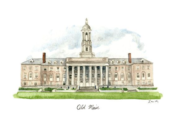 Penn State Old Main - Digital Print 5 x 7 State College PSU Campus Alumni Pennsylvania University