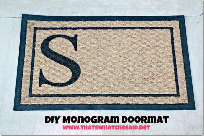 DIY Monogram Doormat... a door mat ($6 Walmart); a stencil; a stencil brush; and some acrylic art paint.