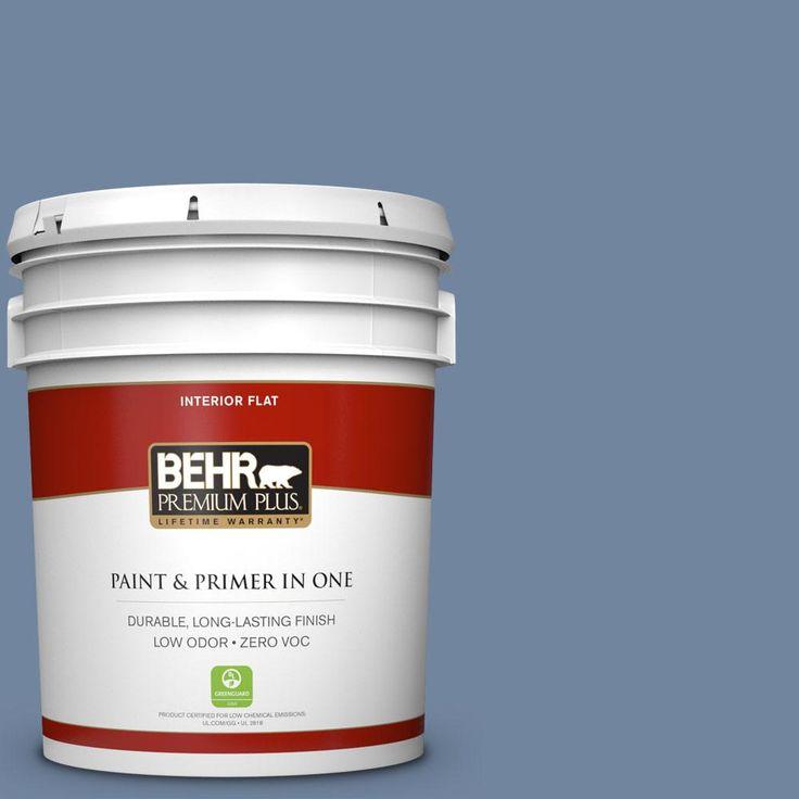 BEHR Premium Plus 5 gal. #580F-5 Mysteria Zero VOC Flat Interior Paint