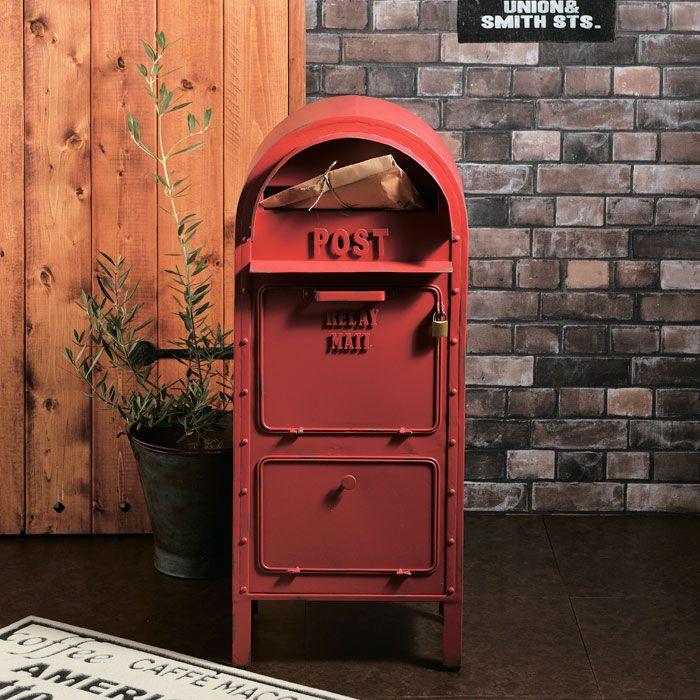 ポスト 郵便受け スタンドタイプ 郵便ポスト アメリカンポスト レッド 南京錠付き