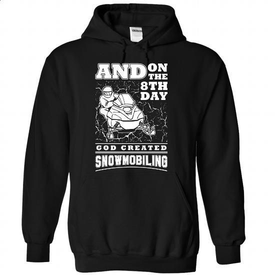 God created Snowmobiling - 1015 - #make t shirts #plain hoodies. CHECK PRICE => https://www.sunfrog.com/LifeStyle/God-created-Snowmobiling--1015-6543-Black-Hoodie.html?60505