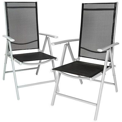 Set 2 aluminium folding garden chairs #outdoor #camping patio #furniture silver,  View more on the LINK: http://www.zeppy.io/product/gb/2/282053221299/